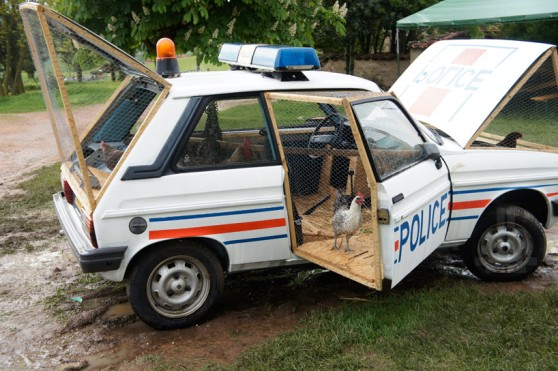 benedetto-bufalino-repurposes-a-police-car-as-a-chicken-coop-designboom-04